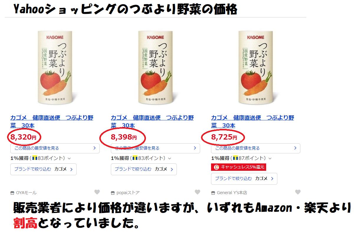 Yahooショッピングのつぶより野菜の価格